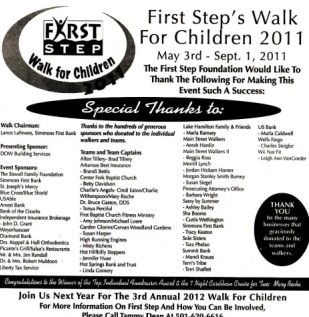 First Step's Walk fundraiser - May 3rd - Sept. 1 2011.